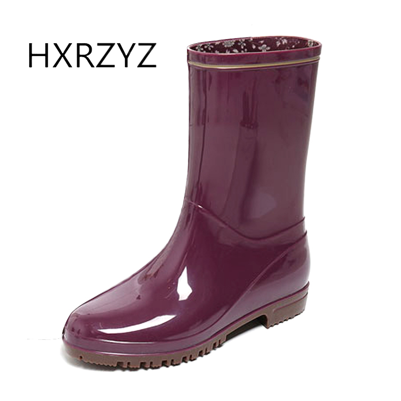 HXRZYZ women rain boots spring/autumn ladies low heel boots new fashion female PVC slip resistant waterproof simple women shoes<br>