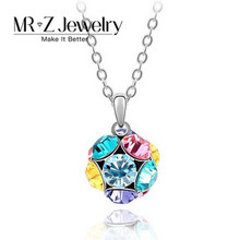 Lastest Multi Color Beaded Crystal Ball Shape Necklace Brand Name Jewelry 10pcs/lot Free Shipping