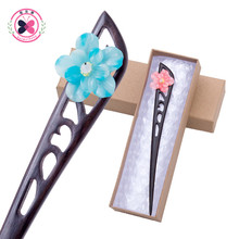 Mother's Gift Box Package Ethnic Sandalwood Hairpin Hair Sticks Carved Ebony Imitation Jade Flower Clip Women Hair Ornament