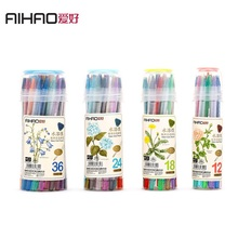 AIHAO Brand 18 24 36 Colors Cut-Free Water soluble Rotating Colored Pencils Students Children Painting Drawing Color Pencil(China)
