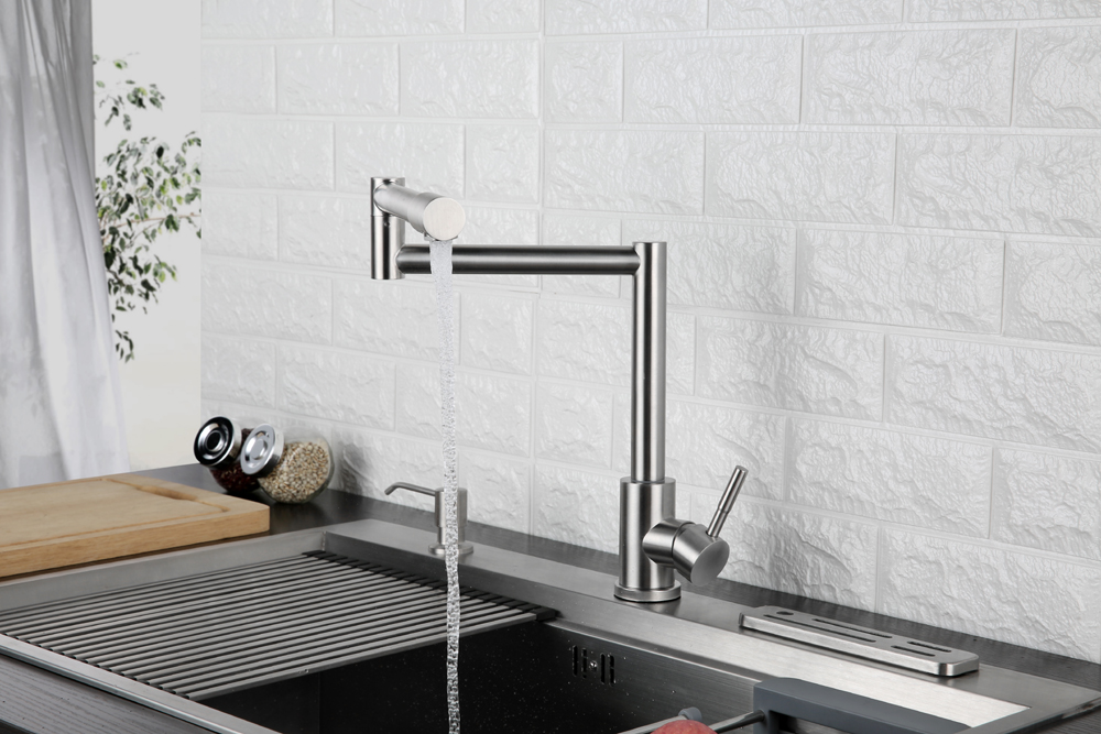 Folding Kitchen Faucet Stretchable Swing Arm Brushed  Single Hole Single Handle Deck Mounted Cold & Hot Kitchen Sink Faucet  (7)