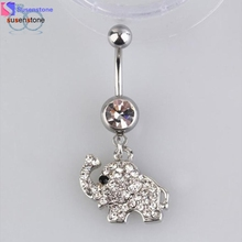 SUSENSTONE Steel Rhinestone Elephant Dangle Navel Belly Button Ring(China)