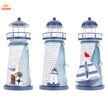OOBEST New Figurines Desk Decor Lighthouse Metal Craft Light House Beacon Home Decoration Maritime Navigation Night Light T20