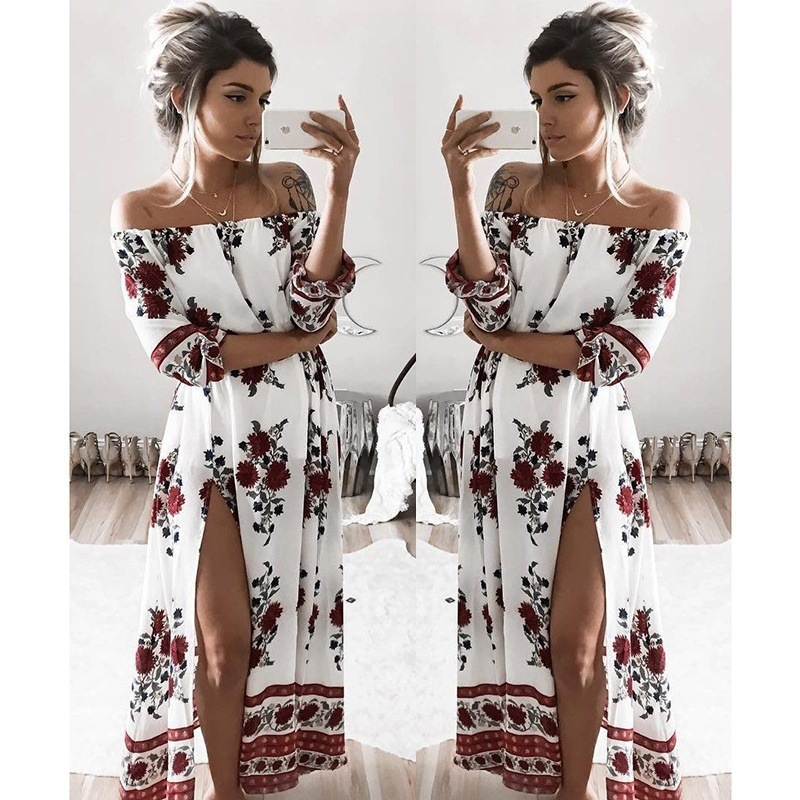 summer dress 2017 boho floral print chiffon maxi dress beach dress sexy shoulder women dress long vestidos plus size dresses