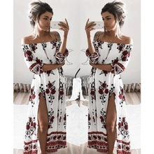 Buy summer dress 2017 boho floral print chiffon maxi dress beach dress sexy shoulder women dress long vestidos plus size dresses for $10.99 in AliExpress store
