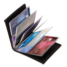 Hot sale NEW Wonder Wallet Amazing Slim RFID Wallets As Seen on TV Black Leather 24Cards(China)