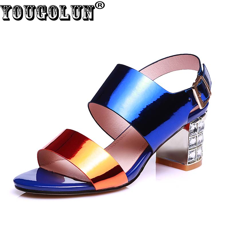 YOUGOLUN Summer Genuine leather Women Ankle Strap Sandals Sexy Ladies Back Strap Shoes Fashion High Heels (7cm)Sandals Casual<br><br>Aliexpress