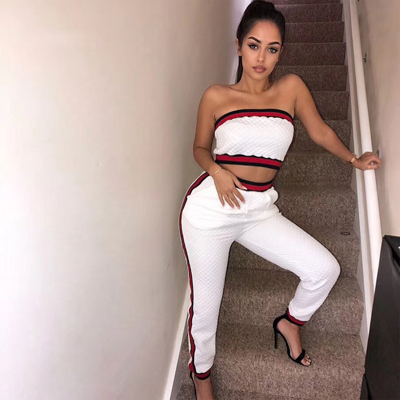 2018 Fashion Two 2 Pieces Set Women Suit Casual White With Red Patchwork Bodycon Stretch High Quality Bandage Jumpsuit Wholesale