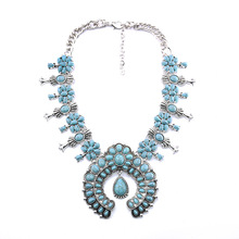 Olsen Twins Chic Vintage Boho Stone Necklace Tibetan Silver Necklaces & Pendants Exotic Jewelry For Women(China)