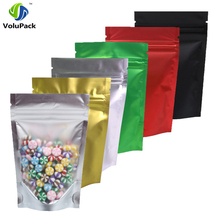 "100pcs 8.5x13cm (3.25x5"") Recyclable Matte Clear Front Ziplock Storage Bags Tear Notch Metallic Mylar Zip Lock Stand Up Pouches(China)"