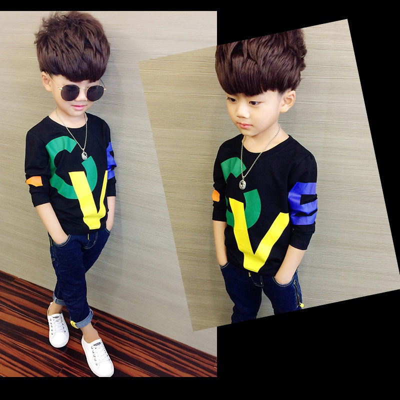 COOTELILI 80-130cm Black T-Shirt Children Tops Letter Kids Clothes Long Sleeve T Shirt Toddler Boys Spring Clothing Costume (9)