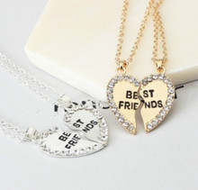 New Mosaic Crystal Heart Pendant Necklace Best Friend Letter Necklace Wholesale Jewelery Best Gift Friend Alphabet Jewelry
