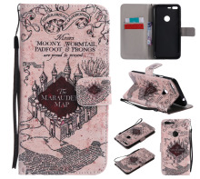 "The Marauders Map Design Wallet Flip Stand Card Holder Pouch Shell Case For Google Pixel XL 5.5"" Leather Cover Coque Fundas"