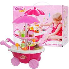 New Kids Toys 39PC Simulation Mini Candy Ice Cream Trolley Shop Pretend Play Set D30(China)
