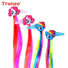 Tronzo 2pcs Unicorn Party Hairpin With Wig 15inch Birthday Party Decorations Kids Cartoon Colorful Horse Hair Decor For Girls(China)