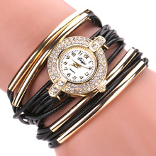 2017 New Lady Fashion Brand Quartz Watch Women Dress Leather Wristwatches Popular Casual Watches Gold Jewelry Bracelet Clock