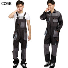 CCGK bib overalls men work coveralls protective repairman strap jumpsuits pants working uniforms plus size sleeveless coverall(China)
