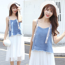 Senanry Summer New Design Fresh & Jessica Dress Suit Cowboy T-Shirt & Mesh Skirt Loose Suit Hign Quality womens/girls NR510P2730(China)