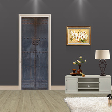 Creative DIY 3D Door Stickers Old Wooden Door Pattern Home Decor for Living Room Large Wall Sticker Home Decoration Accessories