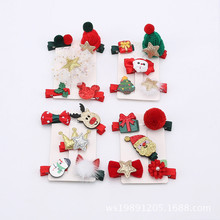 2017 Fashion New 5Pcs/Set Hair Clip Merry Christmas Gift Flower Hair Accessories for Girls Bow Star Snowman Animal Hairpin Duck(China)