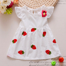 Summer New Fashion baby girls dress with strawberry and flower printed nice quality 2016 children clothes  A171