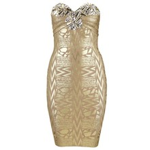 Bandage dress factory Brand New Sexy Strapless Gold Red Crystal HL Rayon Bandage Dress Ladies Charming Backless Dress(China)