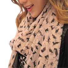 New Fashion Women's Chiffon Colorful Printed Sweet Cartoon Cat Kitten Scarf Graffiti Style Shawl Girls Christmas Gift(China)