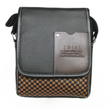 Men's Faux Leather messenger bag black plaid patchwork design men bag shoulder