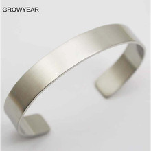 Wholesale Bulk Unisex Blank Metal Cuff Bangles Bracelets 316L Stainless Steel Plain Silver Bangles For Men Women(China)