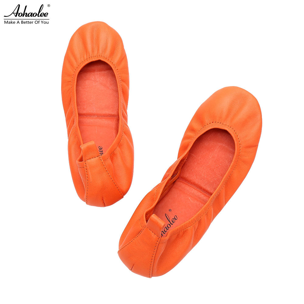 Aohaolee Fashion Shoes Round Toe Flats Women's Ballerina Ballet Flats Shoes Foldable Shoes Portable Travel Flats Rollable Shoes(China)
