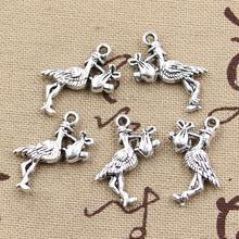 20pcs Charms stork baby bird 23*18mm Antique pendant fit,Vintage Tibetan Silver,DIY for bracelet necklace