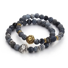 2016 Tiger Eye Lion Head Bracelet Buddha beads Bracelets Bangles Charm Natural Stone Bracelet Men Jewelry pulseras hombre F3224