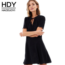 Buy HDY Haoduoyi 2017 Fashion Solid Black Mini Dress Women Casual Hollow Short Sleeve Vestido Women Clothing A-line Summer Dress for $18.86 in AliExpress store