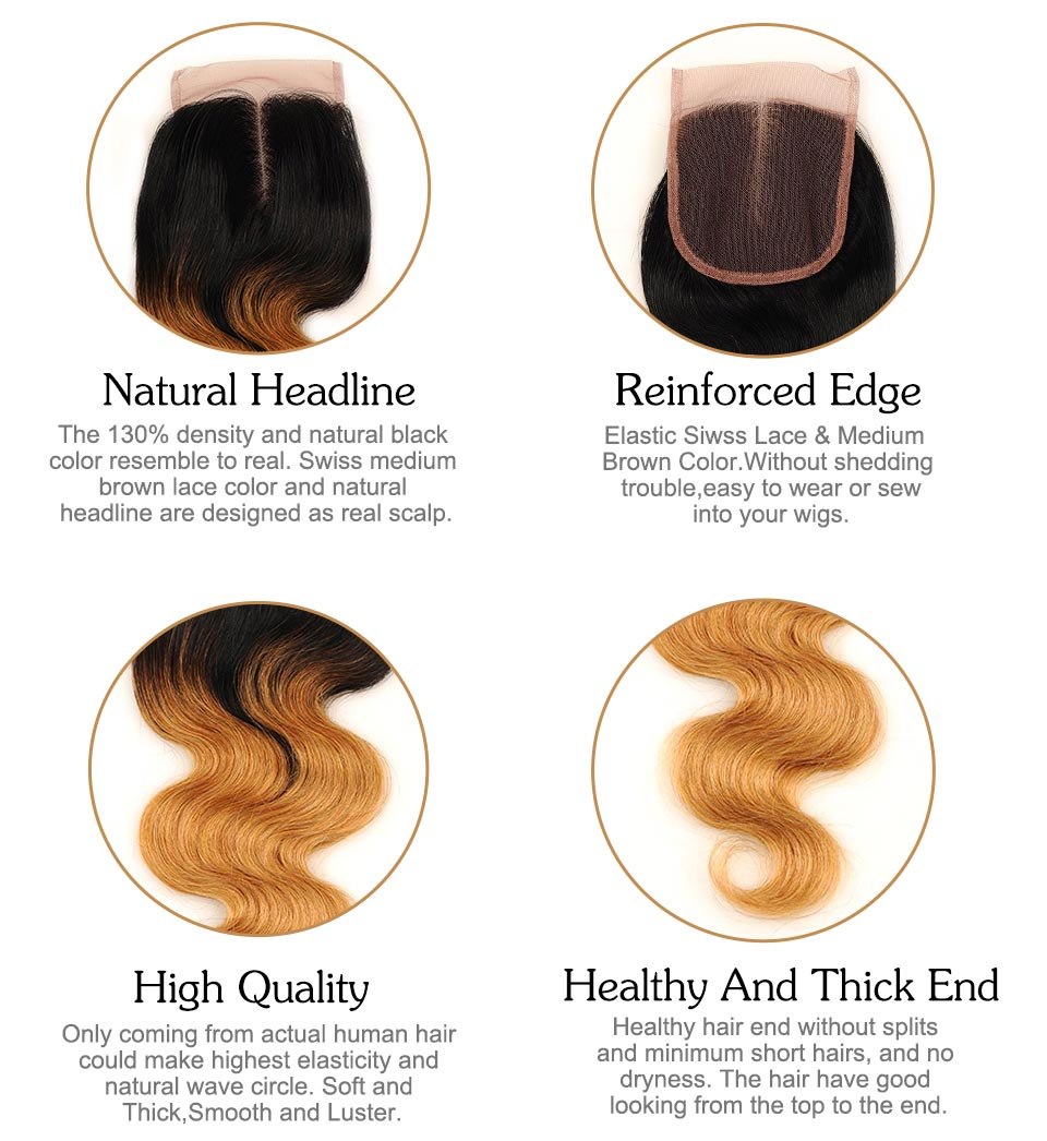Pinshair Pre-Colored Brazilian Hair Weave Bundles With Closure Ombre T1B 27 Body Wave 3 Bundles With Closure Human Hair Non Remy (20)