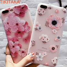 TIKITAKA Relief Flower Floral Case For iPhone 6s 6 Plus Soft Silicon Cover Case Cherry Peach Phone Case For iphone 6s Plus Coque