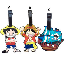 Fashion ONE PIECE Suitcase Luggage Tags Monkey D. Luffy ID Address Holder Baggage Label Silica Gel Identify Travel Accessories
