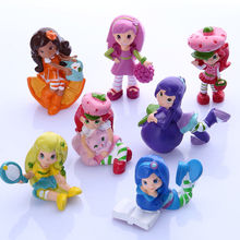 7pcs Strawberry Shortcake Cupcake Cake Toppers PVC Figure Doll Mini Girls Boys Toys Cute Toys Set(China)