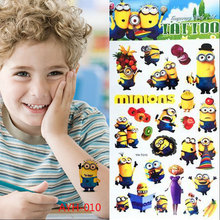 2017 Cartoon Minions Child Temporary Tattoo Body Art Flash Stickers 21*10cm Waterproof Henna Tatoo Car Styling Wall Sticker(China)