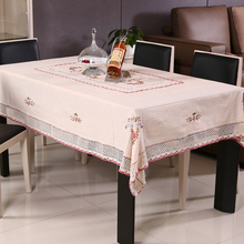 Christmas Gifts Pastoral Flowers Ribbon Embroidery Table Cloth Covers / Handmade Beige Cotton Tablecloth with Pink Lace Line