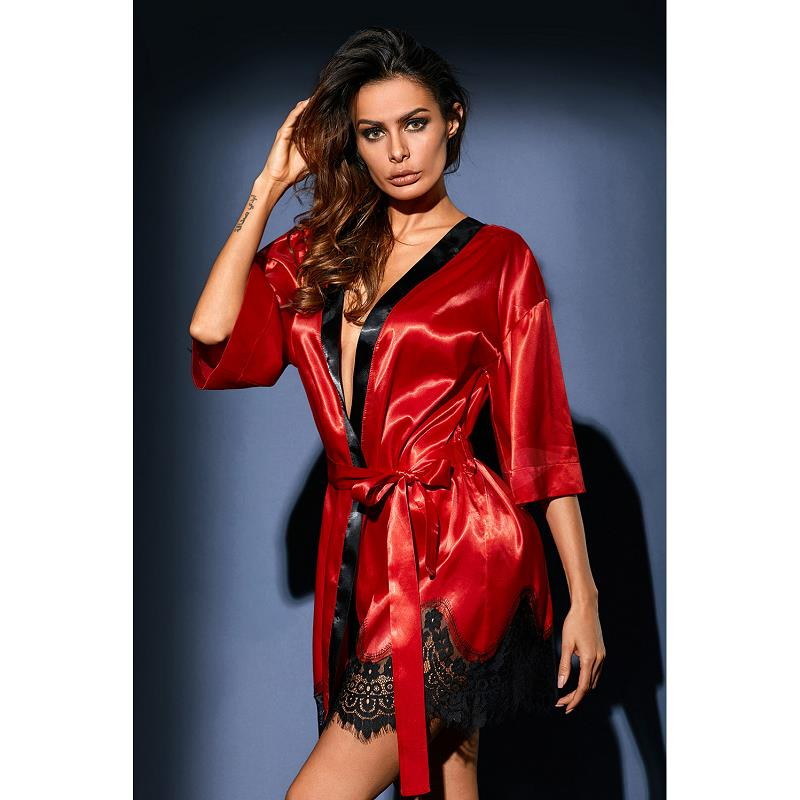 Dreszdi Sexy Red Women Nightwear Cardigan Tops Half Sleeve Blue Scalloped Kimono Blouse Black Satin Lace blusa feminina (4)