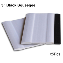 "5pcs 3"" white & black Block Squeegee Car soft Rubber Squeegee Film Stickers Decals Vinyl advertising scraper car clean tool A75S(China)"