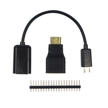 3 in 1 Raspberry Pi Zero Adapter Kit Mini HDMI to HDMI adapter+Micro USB to USB Female OTG Cable + 20 pin Male GPIO Header RRI 0