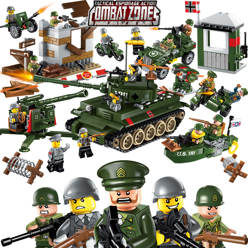Enlighten Military Educational Building Blocks Toys For Children Gifts World War Hero Boat 88 Flak Tank Weapon Compatible Brand<br>