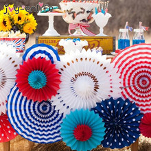 JOY-ENLIFE 6pcs/lot Colorful Handcraft Paper Fan Rosettes Folding Fan Flower Home Wedding Backdrop Decor Birthday Party Supplies(China)