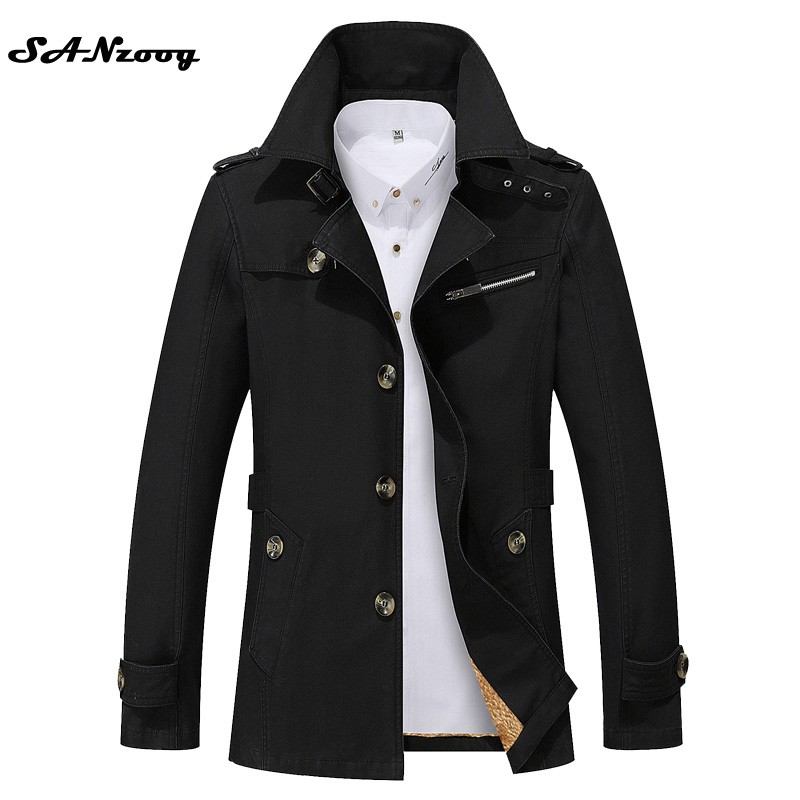 Hot Sale 2017 Thick Thin Two Style New Fashion Brand Men Jacket Coats Long Overcoat Cotton Jackets Mens Outerwear Parka Plus 5XL(China (Mainland))