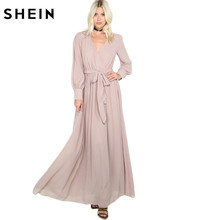 Buy SHEIN Ladies Maxi Dresses Long Khaki Gathered Maxi Dress 2017 Spring Casual Women's Long Sleeve V Neck Line Dress for $25.97 in AliExpress store