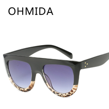OHMIDA Fashion Oversized Sunglasses Men Vintage Brown Flat Top Sun Glasses Female Pilot Rivet Brand Designer UV400 oculos de sol(China)