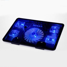5 Fan 2 USB Laptop Cooler Cooling Pad Base LED Notebook Cooler Computer USB Fan Stand For Laptop PC Video 10-17""