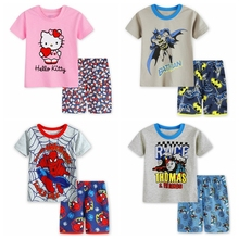 Children girl Fashion Pyjamas hello kitty Baby Kids Summer Pijamas Toddler Girls Summer Short Raglan Sleeve Printed Pajama Sets