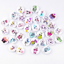 Retail 10Pcs Random Mixed 2 Holes Print Baby Style Wood Buttons 15mm Dia. Sewing Tools For Diy Clothing Accessories F0591